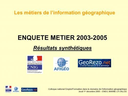 Les métiers de l'information géographique